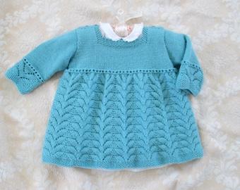 Knit Baby Toddler Dress 9M to 18M Merino Wool Vintage Style Blue