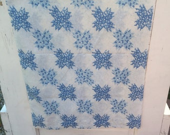 Vintage, pillowcase, retro, blue pillowcase, standard size, bedding, linens, Sears, roebuck and co, floral pillowcase, U.S.A, vintage