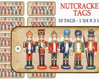 Nutcrackers Gift Tags. Printable Gift Tags, Christmas Gift Tags, Holiday decor, digital craft supplies