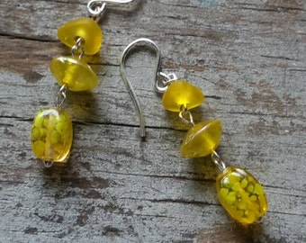Simple Yellow Glass Dangle Earrings Silver