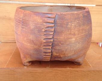 Rustic, Brown Textured Ceramic Planter