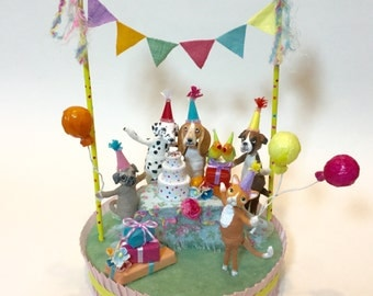 Cake topper , party decoration , one of a kind , clay and spun cotton figures , animal party theme , fun celebration
