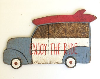 Woody Wagon wood sign Enjoy the Ride Navy and red