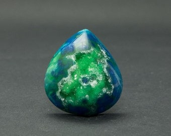 Beautiful Blue and Green Drusy Cabochon 28 x 32 mm