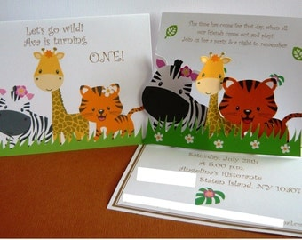 Safari animal invitations/safari invitations/cheetah/leopard/tiger/zebra/giraffe/jungle animals/first birthday/jungle invitation/safari