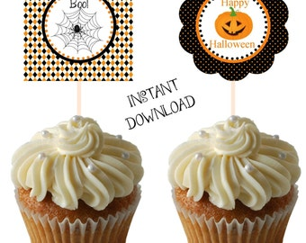 Halloween cupcake toppers, halloween, halloween tags, cupcake toppers, party tags, spooktacular party tags, INSTANT DOWNLOAD, spooktacular
