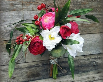 Rose Berry Wedding Bouquet Romantic hand-tied garden, Pink, Red and White.
