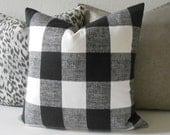 Black and white plaid buffalo check decorative throw pillow cover