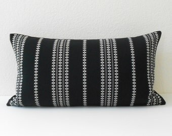 Black and white boho embroidered striped decorative pillow cover