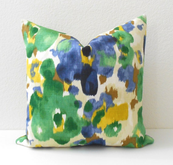 Yellow Green Decorative Pillows : Blue green and yellow watercolor floral decorative pillow