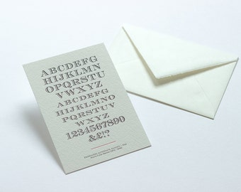 Letterpress Typography Postcard - Engravers Alternate Shaded.
