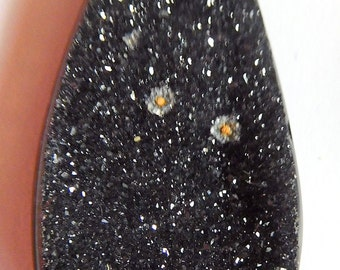 Black drusy  Designer cab of natural color Drop jet black quartz druzy 14.26ct