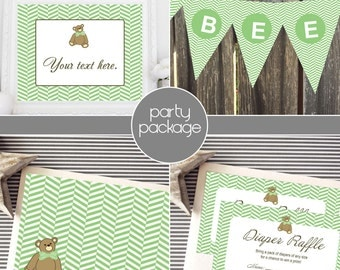 Instant Download - Teddy Bear with Herringbone Party Package - Green