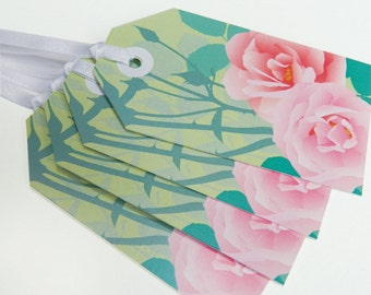 Pink Rose Gift Tags - Mothers Day, flower tags, floral tags