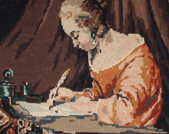 Vintage French needlepoint canvas tapestry - Woman writing