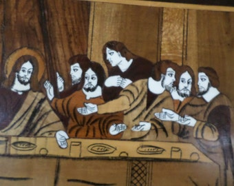 Inlaid Woods/LAST SUPPER/JESUS/Vintage/Italian/Unknown Artist