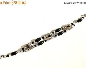 Clearance Sale Black and Silver Beaded Bracelet - Sqaure Antique Silver with Black Swarovski Crystals - Obsidian Ovals - Silver Seed Beads