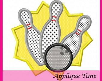 Instant Download Crashing Bowling Pins Machine Embroidery Applique Designs 4x4, 5x7 and 6x10