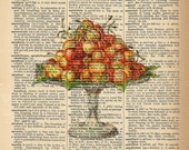Dictionary Art Print - Cherries - Kitchen / Food Print -  Upcycled Vintage Dictionary Page Poster Print - Size 8x10