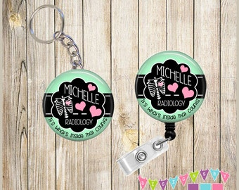 Combo Sale - Badge Reel Keychain Combo - Chest Xray - Inside That Counts - PERSONALIZED Long Name  - You Choose Color, Chain and Reel Style