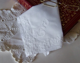 Wedding Shower Gift Bride's Vintage Wedding Hanky Monogrammed E Handkerchief in White Applique Something Old