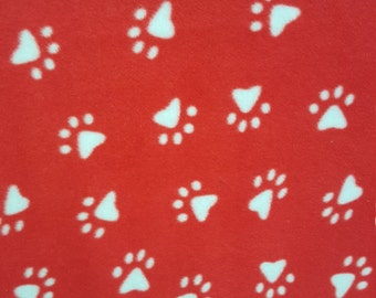 Red and White Paw Print Fleece Fabric by the Yard