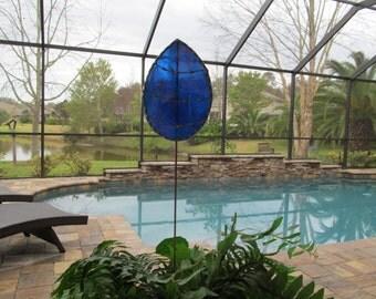 Stained Glass Easter Egg Garden Stake/Garden Marker in Cobalt Blue Iridescent Glass - Large Egg Plant Stake