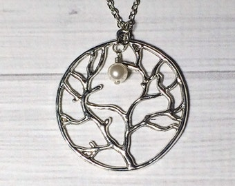 Silver Tree of Life Pearl Necklace Friendship Women's Gift