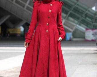 Wine Red Coat Big Sweep High Collar Women Wool Winter Coat Long Jacket Tunic / Fast Shipping - NC499