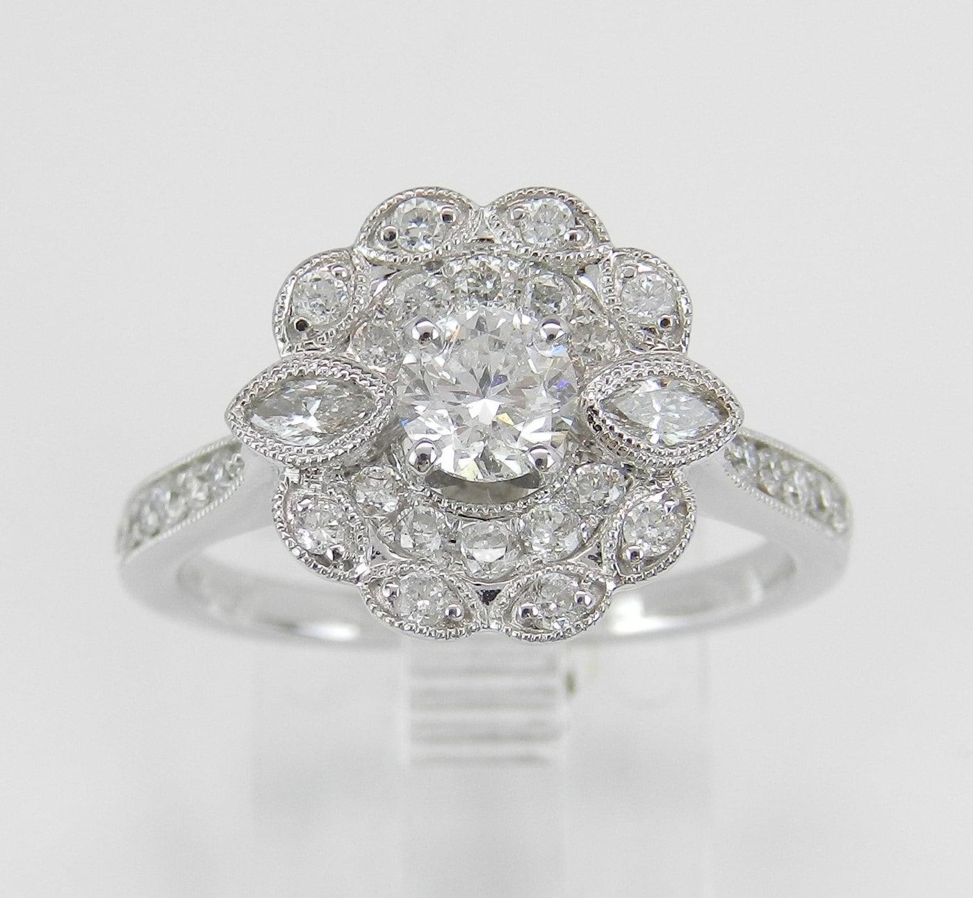 34 Grams Unique Diamond Set: Unique Diamond Double Halo Flower Engagement Ring 14K White