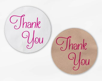 Thank You Script Wedding Favor Stickers in Hot Pink - Custom White Or Kraft Round Labels for Bag Seals, Envelopes, Mason Jars (2029)