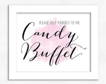 Candy Buffet Print in Light Pink - Watercolor Calligraphy Wedding Reception Sign for Favors or Dessert Table (4001)