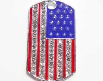 48mm, 4th of July, Patriotic Pendant for Chunky bead  Necklace,