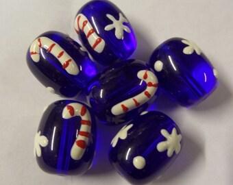 Dark Blue Glass Beads, 2CT. Handmade Lampwork Beads, 18mm*6mm(approx) S37