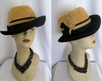 Vintage 1960s 70s Hat Lilly Dache' Tan & Black Fur Felt Fedora Derby