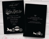 Sweet sixteen, Wedding, Birthday, Shower Party Invitations. Black, Sand Taupe, Ivory, Cinderella, Magical, Carriage Samples/Printing/DIY
