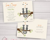 Fun Wedding/Engagement/ Shower/Anniversary Invitations: Kitty, Cats, Love, Tree, Spring, Fall. Samples/Digital Files/Printing all Available