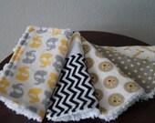 Neutral Baby Washcloths - Elephant - Giraffe - Lion - Chevron - Yellow and Grey - Baby Shower Gift under 20
