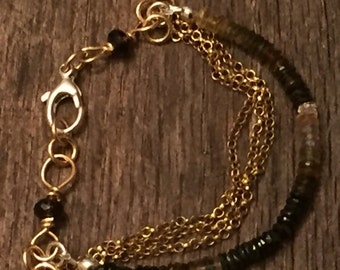 Mixed Metals Multi Strand Gemstone Bracelet, Tourmaline, Smokey Topaz and 14K GF Chain Bracelet, Rustic Sundance Style Jewelry