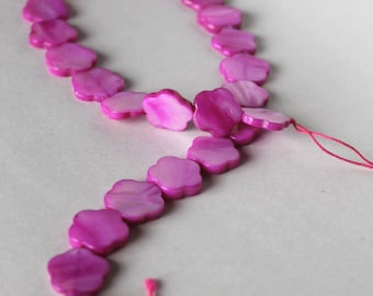 Mother-of-pearl strand, fuchsia flower beads, jewelry supplies, beading supplies, jewellry supplies, magenta beads, pink beads, flower beads