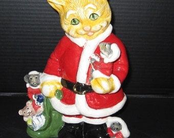 Orange Taby with Santa Suit Figurine