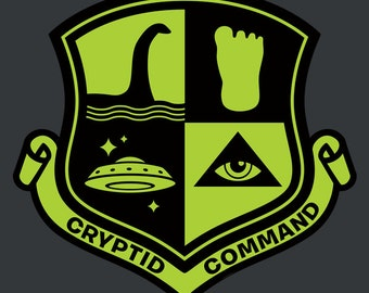 Cryptid Command t-shirt (Bigfoot, Nessie, UFO Eye in Pyramid)