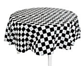 Black & White Checked Race Car Flag Round Tablecloth