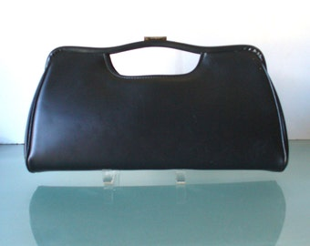Vintage Vinyl Classy USA Large Black Clutch Bag