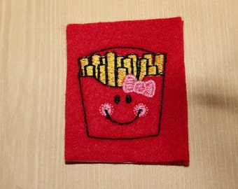 French fries feltie, french fry stitchies on red felt, Girly fries with pink bow felties, 4 pcs for hair accessories, scrapbooking or crafts