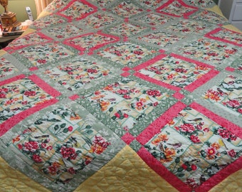 Hand Quilted 82x100 Birds and Flowers