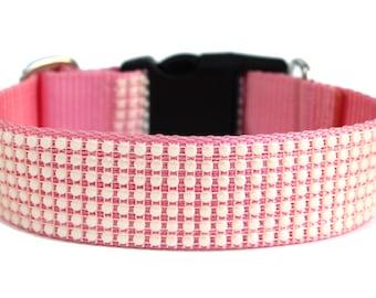 "Pearl Dog Collar 1"" or 1.5"" Wide Pink Pearl Dog Collar"