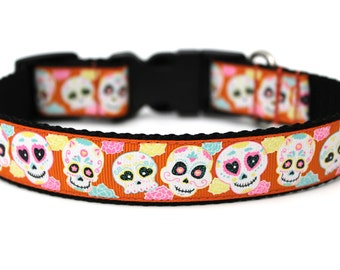 "Halloween Dog Collar 1"" Sugar Skull Dog Collar SIZE MEDIUM"
