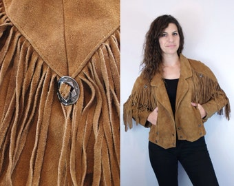 1990s Vintage Golden Brown Leather Jacket w/ Fringe & Silver Conchos Coins / Fringed Suede Double-Breasted Coat Blazer / Small Medium S M 6