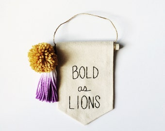 Brave As Lions Embroidered Mini Banner - 6.25 x 4.25 inches Wall Banner Wall Hanging Canvas Mini Banner